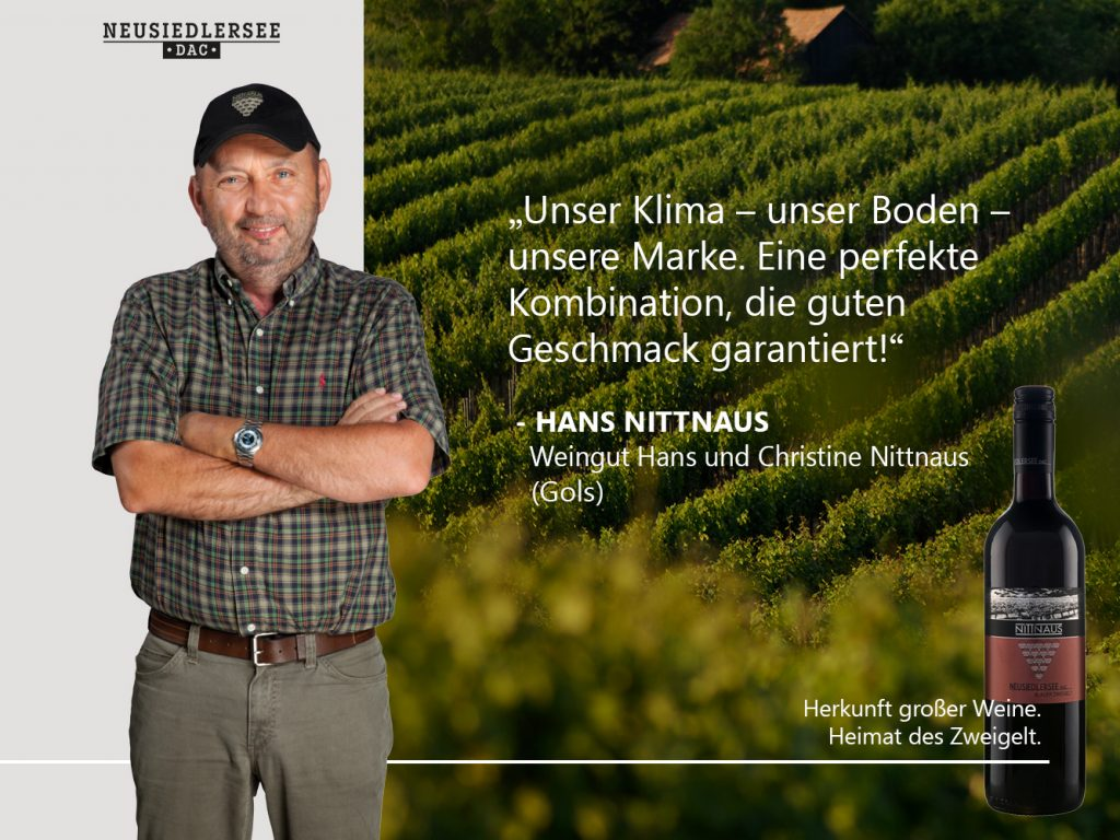 Hans vom Weingut Hans und Christine Nittnaus mit Zitat über Zweigelt