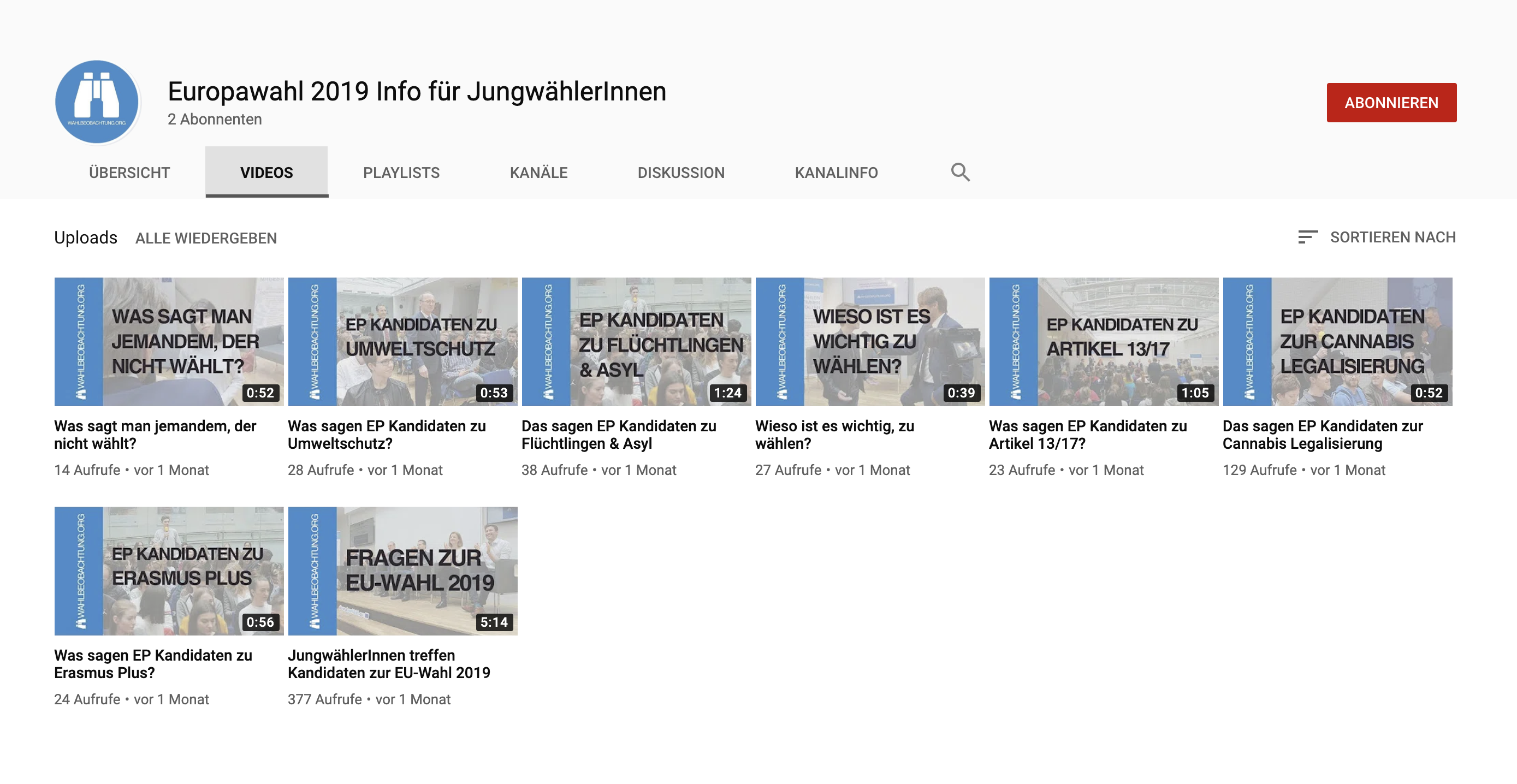 YouTube Kanal Wahlbeobachtung.org
